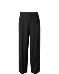 Loewe Black Wide Leg Pleated Wool Twill Trousers