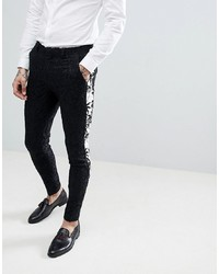 ASOS Edition Super Skinny Suit Trousers In Black With Contract Palm Tree Tuxedo Stripe