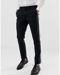 Burton Menswear Tuxedo Suit Trousers With Tipping In White