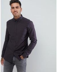 ASOS DESIGN Casual Slim Oxford Shirt In Black