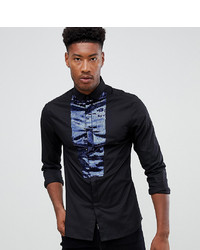 ASOS DESIGN Tall Skinny Sa Shirt In Black With Navy Sequin Bib