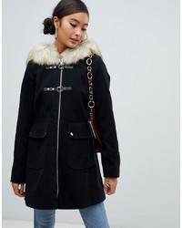 Miss Selfridge Duffle Coat With Faux Hood In Black