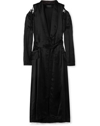 Ann Demeulemeester Convertible Belted Satin Coat