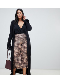 PrettyLittleThing Plus Slinky Duster Coat In Black