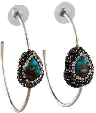 Lfr Designs Pav Turquoise Hoop Earrings