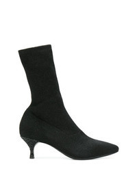 Black Elastic Ankle Boots