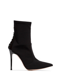 Gianvito Rossi Black 105 Lace Up Leather And Neoprene Boots
