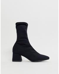 Vagabond Black Alice Stretch Mid Heeled Sock Boots