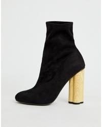 ASOS DESIGN Eliza Wooden Heeled Sock Boots