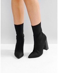 Public Desire Libby Black High Heeled Sock Boots
