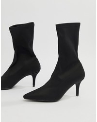 RAID Phillipa Black Pointed Sock Ankle Boots Stretch