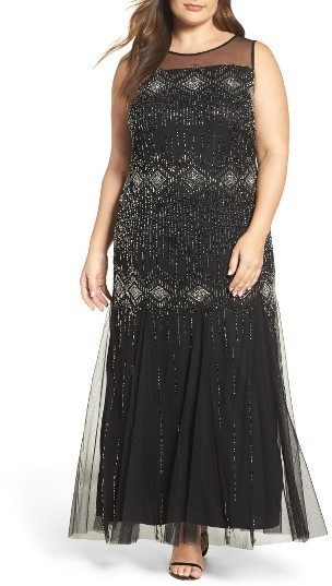 93169b6927f65 ... Pisarro Nights Plus Size Diamond Motif Embellished Long Dress ...
