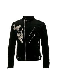 Alexander McQueen Embellished Bird Biker Jacket