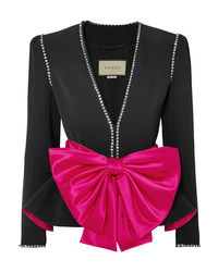 Gucci Bow And Crystal Embellished Crepe Jacket