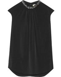 MICHAEL Michael Kors Michl Michl Kors Embellished Stretch Jersey Top Black