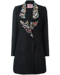 Lanvin Embellished Lapel Marbled Coat