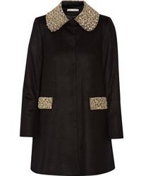 Alice + Olivia Iris Embellished Wool And Cashmere Blend Coat Black