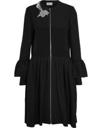 Preen by Thornton Bregazzi Salma Crystal Embellished Cotton Blend Twill Coat Black