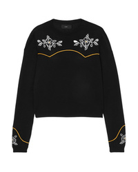 Alanui Western Flowers Embroidered Intarsia Cotton And Silk Blend Sweater