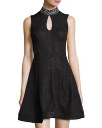 Jax Sleeveless Embellished Neck Dress Black