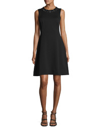 Maggy London Embellished Fit Flare Scuba Dress Black