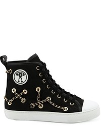 Moschino Chain Embellished Hi Top Sneakers
