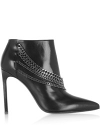Saint Laurent Chain Embellished Leather Ankle Boots