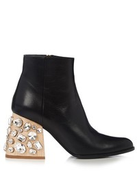 Marni Crystal Embellished Block Heel Leather Ankle Boots