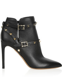 Valentino Rockstud Textured Leather Ankle Boots