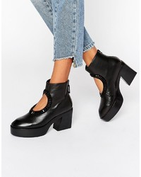 Kat Maconie Zula Black Leather Cut Out Embellished Heeled Ankle Boots