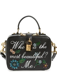 Dolce & Gabbana Dolcegabanna Small Most Beautiful Crystal Flower Embellished Leather Handbag Black