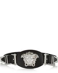 Versace Embellished Leather And Grosgrain Waist Belt