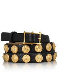 Valentino Etno Embellished Textured Leather Belt