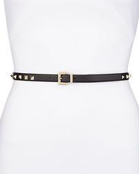 Valentino Rockstud Platino Studded Skinny Leather Belt Black