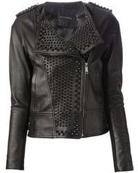 Black Embellished Leather Biker Jacket