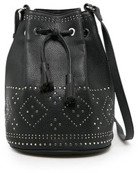 Black Embellished Leather Bucket Bag