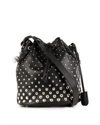 Alexander McQueen Padlock Studded Leather Bucket Bag