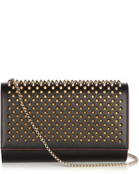 Christian Louboutin Paloma Spike Embellished Leather Clutch