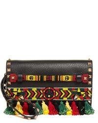 Valentino Rockstud Bead Embellished Leather Clutch