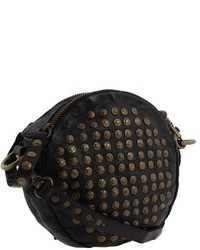 Black Embellished Leather Crossbody Bag