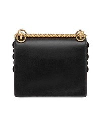 Fendi Black Kan I Gold Stud Leather Shoulder Bag