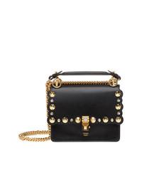 Fendi Black Kan I Gold Stud Leather Shoulder Bag