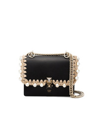 Fendi Black Kan I Small Leather Bag With