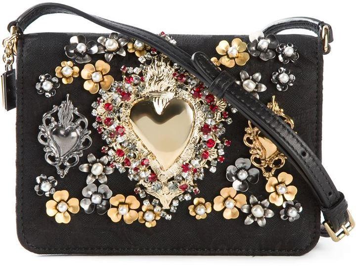 Sacred Heart Crossbody Bag. Black Embellished Leather Crossbody Bag by Dolce    Gabbana 8bf5017bb1