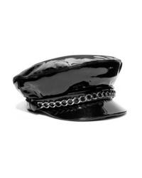 Eugenia Kim Marina Chain Embellished Patent Leather Cap