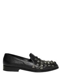 Black Embellished Leather Loafers