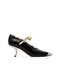 Marni Black Mary Jane 50 Bow Heel Leather Pumps