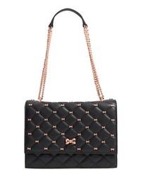 Black Embellished Leather Satchel Bag