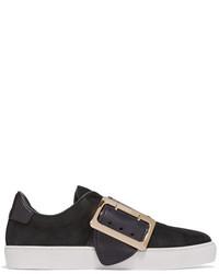 Burberry Buckle Embellished Leather Trimmed Nubuck Slip On Sneakers Black