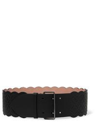 Alaia Alaa Arabesque Embellished Leather Waist Belt Black
